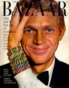 When Ruth Ansel put Steve McQueen, photographed by Richard Avedon (also the guest editor), on the cover of Harper's Bazaar in 1965, it was the first time a male appeared on the cover of a women's fashion magazine.