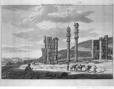 [Volume II. Voyage par la Moscovie, en Perse et aux Indes orientales. Pl. 5 dépl. entre p.270-271 : Persépolis.] Deux portiques et les deux colonnes. [Cote : Réserve A 200 294 v1 v2]   Cornelis de Bruijn   Gallica
