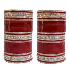 2.4 S Bollywood Bangles Bracelet Indian Punjabi Bridal Jewellery Chura Red D8 Year-End Bargain Sale Engagement & Wedding