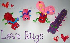 These egg carton love bugs turned out cute! I cut an empty egg carton into different sizes. My little artist painted them in Valentine's Day colors. The next day, I poked holes for antennas and legs. The antennas & legs are made from pipe cleaners. My son tried to cut the pieces himself, but it . . . . .