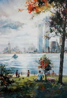 Liberty Island, NY ~ Watercolor by Tom Lynch