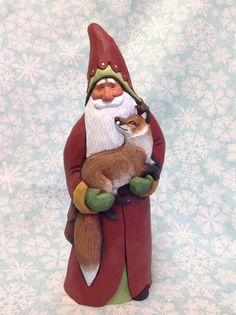 Hand Carved Santa Holding Red Fox by Susan M Smith | eBay