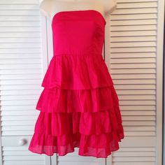 "Express Ruffled Dress Express Ruffled Dress 100% Cotton Strapless Length from Bust to Hem is 25"" Express Dresses"
