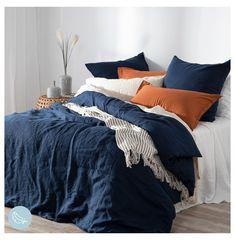 Navy Blue Bedding, Navy Blue Bedrooms, Blue Bedroom Decor, Blue Duvet, Bedroom Orange, Home Bedroom, Navy Blue Decor, Blue Bed Linen, Navy Quilt