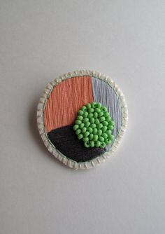Circle geometric brooch hand embroidered