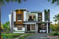 4 bedroom, awesome contemporary style house in an area of 2352 square feet by R it designers, Kannur, Kerala. House Front Design, Modern House Design, Dream House Plans, Modern House Plans, Two Storey House Plans, House Design Pictures, Home Building Design, Kerala House Design, Kerala Houses