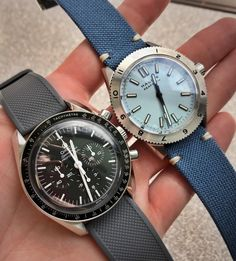 Omega watch on Barton Silicone Elite strap & Halios on stock blue strap : Watchbands Omega Speedmaster Watch, Watch Bands, Omega Watch, Watches For Men, Cool Photos, Blue, Stuff To Buy, Community, Canvas