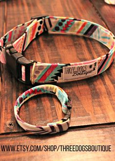 """Dog Collar with Optional BFF bracelet """"Spring Aztec"""" FREE SHIPPING-All fabric options available by ThreeDogsBoutique on Etsy https://www.etsy.com/listing/286382901/dog-collar-with-optional-bff-bracelet"""