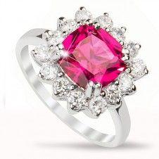 Inel logodna argint 925 piatra semipretioasa Rubin si placat cu rodiu si cristale Heart Ring, Engagement Rings, Jewelry, Fashion, Enagement Rings, Moda, Wedding Rings, Jewlery, Jewerly
