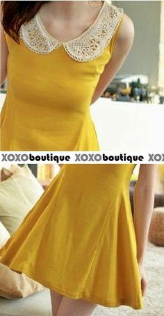 ♥ XOXO BOUTIQUE ♥: BASIC ::: Crochet Collar Skater Dress