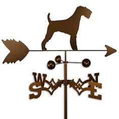 This weathervane is made of strong 14-gauge steel and is then covered with copper-colored powder-coat paint. This handcrafted weathervane features an eye-catching Airedale dog design.