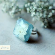 Real Hydrangea Flower Botanical Ring one of a kind unique handmade resin jewelry