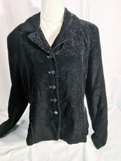 Jones New York Women's Jacket Velvet Paisley Button Jacket Front Black Size 12 #JonesNewYork #BasicJacket