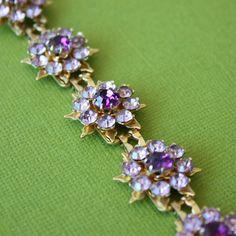 Vintage Coro costume bracelet purple rhinestone flowers