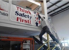 Funny fail think safety first as man leans dangerously