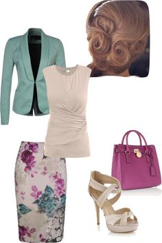 "This is a fun and super cute Spring/Summer look for the office. Works for ""happy hour"" after too! I love the colors!"