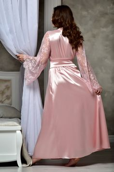 Long blush pink wedding kimono robe Lace bridal robe Bridal maxi dressing gown Bridal satin lace robe Daughter bridal shower gift from mom Lace Bridal Robe, Bridal Lingerie, Blush Bridal, Lace Lingerie, Bridal Gown, Blush Rosa, Blush Pink, Rosa Satin, Pink Satin