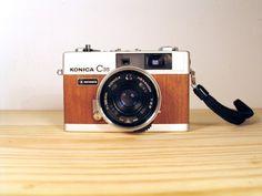 Konica C35 vintage camera with unique Real Wood Veneer