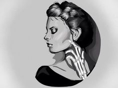 Black and white sketch Character design Woman drawing skeleton shadows shading  Makeup eye shadow