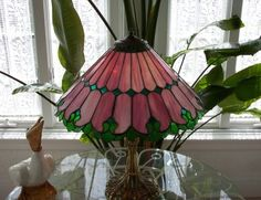 """Stained Glass Art - """"Pink Garden Lamp"""""""