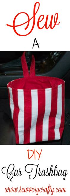 Sew an easy DIY car trash bag. Free pattern and tutorial.  #sew #cartrashbag #trashbag #tutorial #pattern
