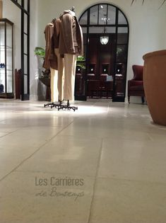 our stone called Saint Germain (reference to the boulevard St Germain in Paris where the most beautiful store is ! ) is used in every store worldwide!#french #stoneflooring #anticstone #design  #frenchstone #castle #french #limestone #beige