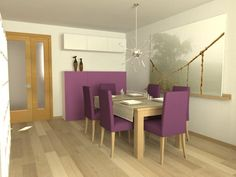 Decorate your dining-room with soft colors, adding a touch of bright color to the chairs and that's how it is. (Ikea Henriksdal chairs, Bjursta table, Besta - Framsta - Inreda system, Onsjo lamp and Premiar picture.