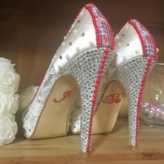 """Some beautiful bedazzled """"I Do"""" shoes here at Anvil Hall"""