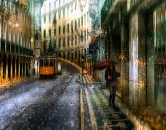 Eduard Gordeev's cityscape scenes distinctly capture the moody ambiance of dark skies and rain-soaked streets