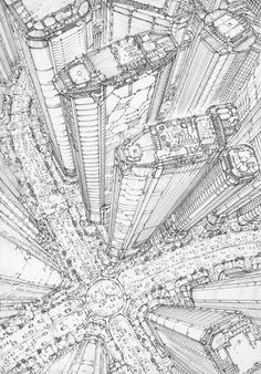Perspective Drawing Lessons, Perspective Art, City Drawing, Architecture Concept Drawings, Cyberpunk City, Landscape Drawings, Environmental Art, Art Reference Poses, Art Sketchbook