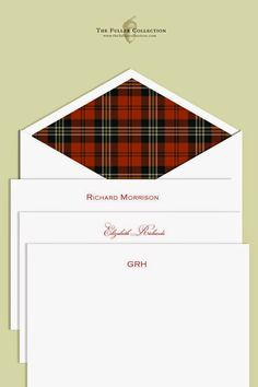 Tartans and Plaids envelope liners for your annual Christmas card   Tartan Fashion   Tablescapes   Dinnerware   China