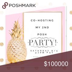LET'S PARTY!!! 🎉 Co-hosting my 2nd Posh party on Saturday 8/5 @ 7 PST and I would LOVE for you to come celebrate with me!! Like & share my listing and don't forget to tag friends & comment to receive a potential HP! I'm looking for Posh compliant closets with clear and creative photos! Happy Poshing! 🍍 Anthropologie Other