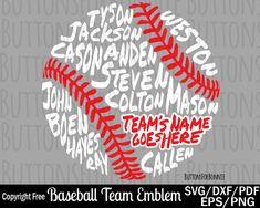 Softball svg, baseball svg, t-ball svg, world series svg, all star svg, champion svg, back of shirt svg, team members svg, cut file by ButtonsForBonnie on Etsy
