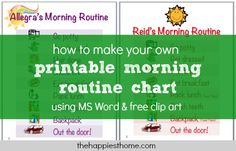 How to make a morning routine chart using MS Word & free clip art - The Happiest Mom