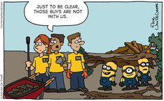 If the guys in yellow and blue denim show up before the disaster, they are probably Minions. If they show up after the disaster, they're probably Mormon Helping Hands.