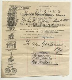 Wimbledon Hill Pictorial Letterhead Clare's Ironmongery store 1903 advertising