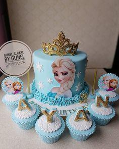 """Günel Seyidova~Cake Designer🌞 on Instagram: """"Axşamınız xeyir olsun🌹 Happy Birthday Ayan🎉🎉🎉 #cakebakeoffng #cakeboss #cake #elsa #frozencake #frozen #prenseselsa"""""""