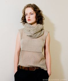 Pure & Simple Handmade Linen Cowl Scarf Natural
