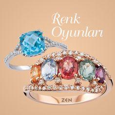 Zen Pırlanta Renkli Taş Koleksiyonu, rengârenk modellerle parmaklarımızı süslüyor! #diamond #zümrüt #yakut #safir #pirlanta #style #fashion #trendy