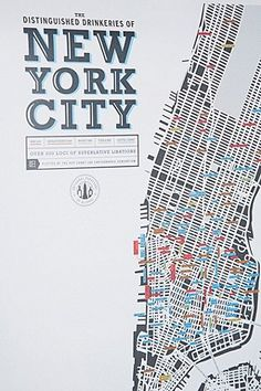 New York City Bars Poster - Urban Outfitters