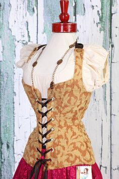 Items similar to NEW Waist 26 to 32 to 35 Gold Vine Damsel Corset on Etsy Steampunk Belle, Damsel In This Dress, Jane Porter, Perfect Posture, Highland Games, Demi Cup, All Tied Up, Square Necklines, Corsets