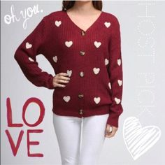 Red & white Heart cardigan by Moon Collection NWT Host Pick for Office Wear Party! You'll swoon over this burgundy red sweater cardigan with sewn white hearts. Perfect for keepin warm at the office or getting cozy at home with coco. Wear on Valentine's Day, wear to Starbucks! Wear my time! So cute and comfy! NWT Retail by Moon Collection. Sizes: S/M/L MSRP $64 This listing is for Medium. I only have the one sweater left  Moon Collection Sweaters Cardigans