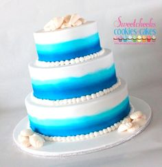 Airbrushed #Beach Themed #Wedding #Cake  www.sweetcheekscookiesandcakes.com.au