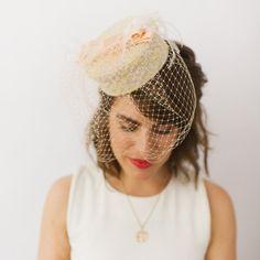 Tweed Fabric Covered Pillbox Hat w Peach by prestonandolivia, $95.00