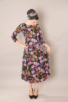 Long sleeve  dress  Black floral dress  Modest midi by TAMARLANDAU