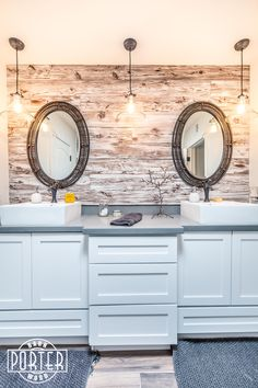 White Washed Mushroom Wood creates a nice accent in this bathroom.