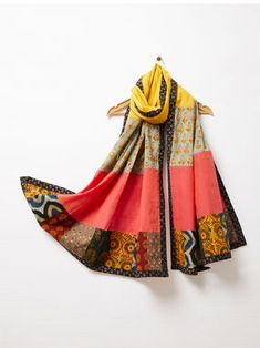 Multicolor Block Printed Patchwork Cotton Dupatta Salwar Designs, Blouse Designs, Navratri Dress, Ethinic Wear, Cotton Anarkali, Hand Embroidery Dress, Handmade Scarves, Indian Designer Outfits, Scarf Design