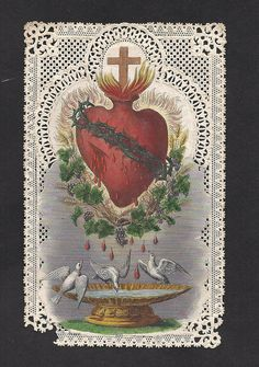 Antique Sacred Heart of Jesus Holy Card Gorgeous by Divinegiftshop, $19.99