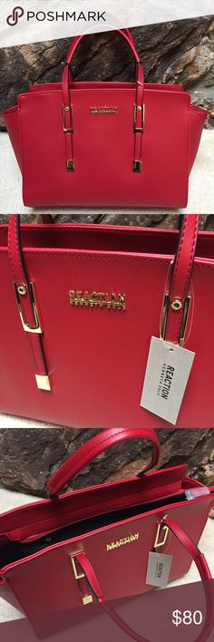 Kenneth Cole BAKED APPLE RED Purse 🍎 Add this Bold, Classic BAKED APPLE RED satchel style purse by Kenneth Cole's REACTION line to your collection!! • Brand New, NWT!! • Original PRICE was $99 in store! • Zipper closure with 2 open interior pockets and a zipper pouch! • I LOVE the Color!! Purses are my weakness so it's time for a new home! • FEEL TO MAKE ME AN OFFER! Kenneth Cole Bags