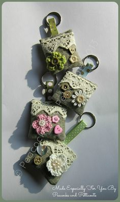 Little Vintage Linen Key Rings / Bag Charms  www.facebook.com/peacocksandpetticoats